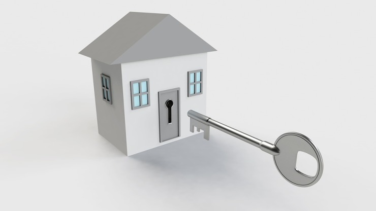 Home with lock and key