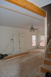 Staircase opening widened to living room